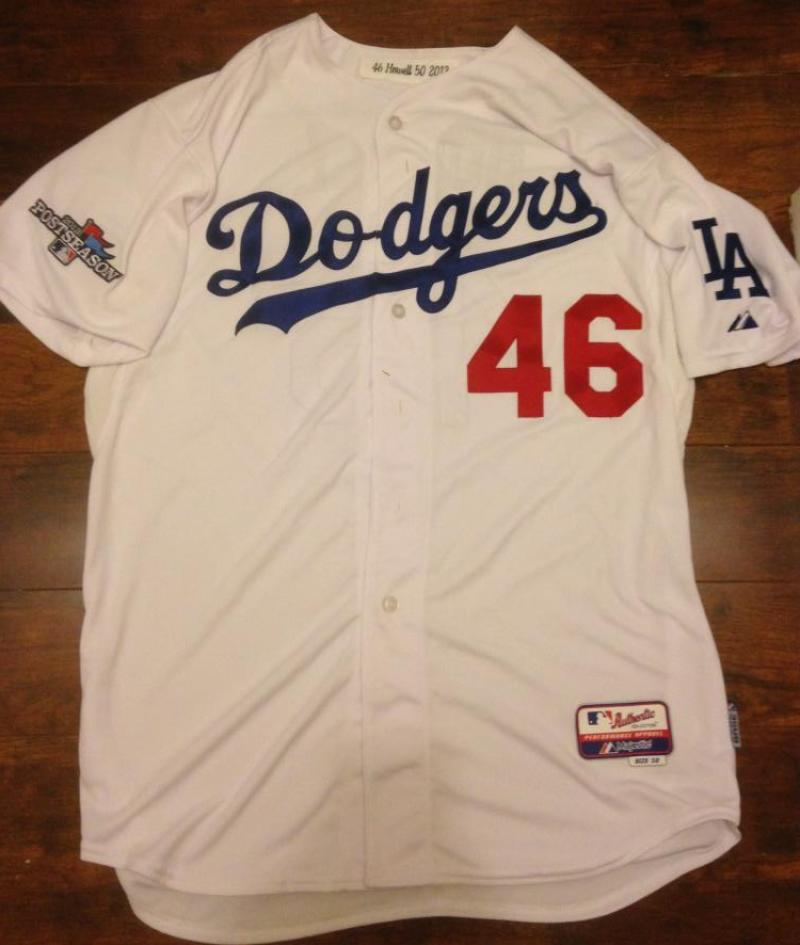 84431f83e Ken Howell Autographed 2013 Post Season Los Angeles Dodgers Home Game Used  Jersey ...